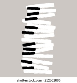 Grunge black and white piano keys