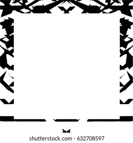 Grunge Black White Square Distressed Frame. Sketch Border Vector Template Overlay To Create Old Dirty Weathered Scratched Spotted Image. Modern Stylish Abstract Background. Empty Aging Design Element