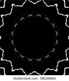 Grunge Black And White Urban Vector Texture Template. Old Dark Messy Dust Overlay Distress Background. Easy To Create  Abstract Dotted, Scratched, Vintage Kaleidoscope Effect With Noise And Grain
