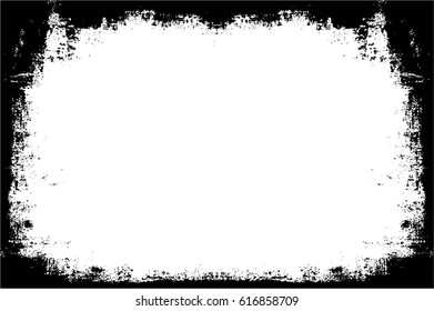 Grunge Black And White Urban Vector Texture Template. Dark Messy Dust Overlay Distress Background. Easy To Create Abstract Dotted, Scratched, Vintage Effect With Noise And Grain. Aging Design Element