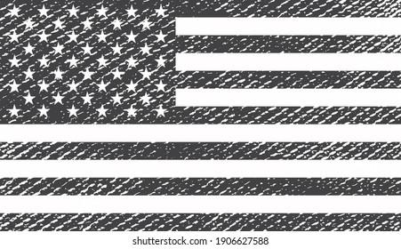 Grunge black and white USA flag.Vintage American flag.