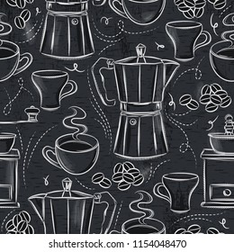 Grunge Blackboard with seamless patterns of coffee set.Ideal for printing onto fabric and paper or scrap booking.