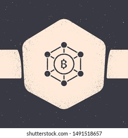Grunge Blockchain technology Bitcoin icon isolated on grey background. Abstract geometric block chain network technology business. Monochrome vintage drawing. Vector Illustration