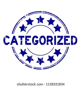 Grunge blue categorized with star icon round rubber stamp on white background