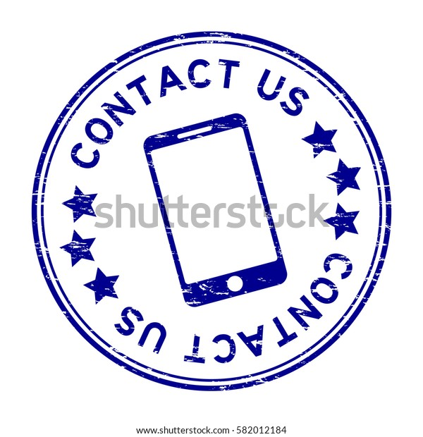 Grunge blue contact us with phone icon round rubber seal stamp on white background