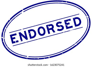 Grunge blue endorsed word oval rubber seal stamp on white background