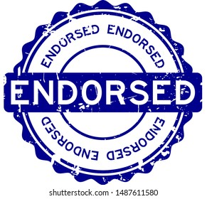 Grunge blue endorsed word round rubber seal stamp on white background