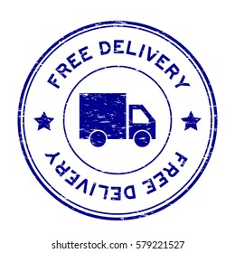 Grunge blue free delivery with truck icon round rubber stamp