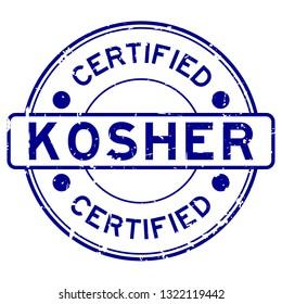 Grunge blue kosher certified word round rubber seal stamp on white background