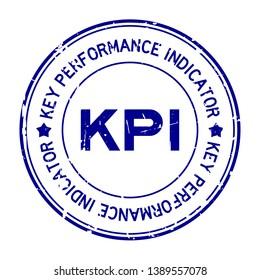 Grunge blue KPI word (Abbreviation key pearformance indicator) round rubber seal stamp on white background