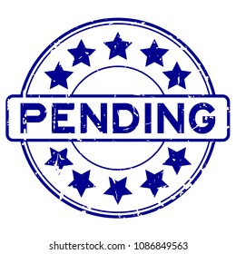 Grunge blue pending with star icon round rubber seal stamp on white background