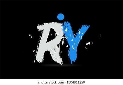 Grunge blue white alphabet letter combination RY R Y on black background suitable as a logo for a company or business