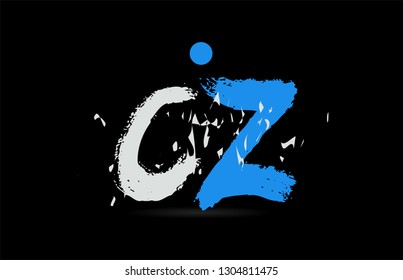 Grunge blue white alphabet letter combination CZ C Z on black background suitable as a logo for a company or business