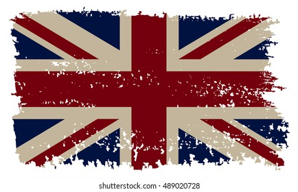Grunge British flag.Vector template.