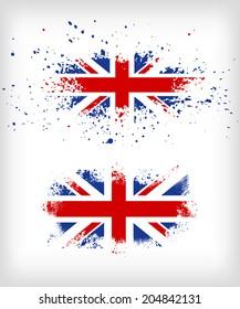 Grunge British ink splattered flag vectors