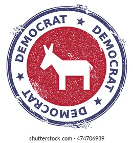 Grunge broken democrat donkeys rubber stamp. USA presidential election patriotic seal with broken democrat donkeys silhouette and Democrat text. Rubber stamp vector illustration.