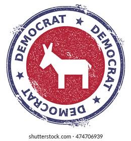 Grunge broken democrat donkeys rubber stamp. USA presidential election patriotic seal with broken democrat donkeys silhouette and Democrat text. Rubber stamp vector illustration.