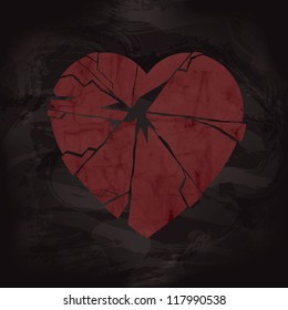 Grunge Broken Heart Design with Texture