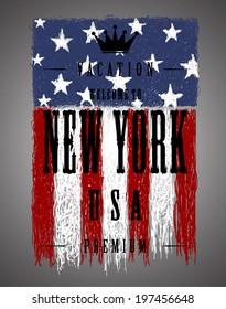 Grunge brush of American flag, Vector illustration  men's t-shirt illustration  t-shirt graphics