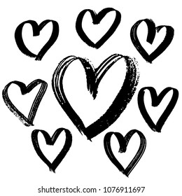 Grunge brush hearts collection. Valentine day print. Vector illustration