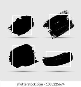 Grunge Brush paint ink stroke with square frame backgrounds set. Vector Illustration EPS10
