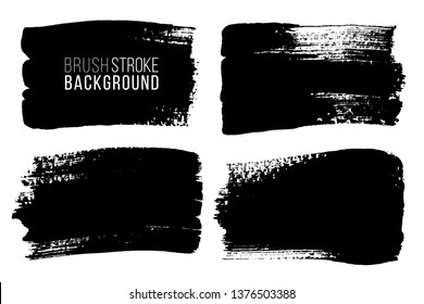Grunge brush painted spots. Vector ink brush strokes. Distressed banners, paintbrush collection. Modern teextured rectangular shapes set.