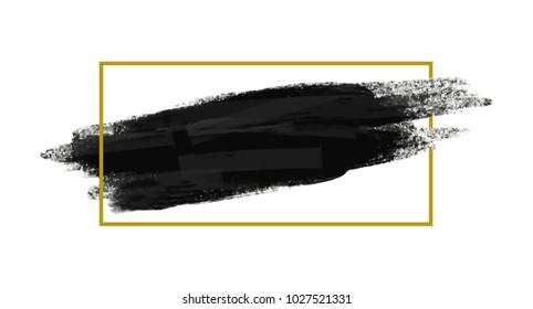 Grunge brush stoke texture background with gold line frame vector illustration