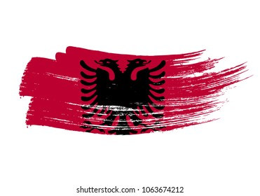 Grunge brush stroke with albania national flag. Watercolor painting flag of albania. Symbol, poster, banne of the national flag. Style watercolor drawing. Vector Isolated on white background.