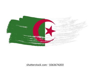 Grunge brush stroke with Algeria national flag. Watercolor painting flag of Algeria. Symbol, poster, banne of the national flag. Style watercolor drawing. Vector Isolated on white background.
