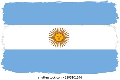 Grunge brush stroke with Argentina national flag. Watercolor painting flag.