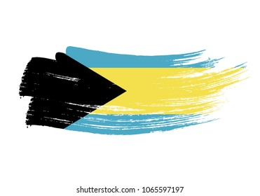 Grunge brush stroke with bahamas national flag. Watercolor painting flag of bahamas. Symbol, poster, banner of the national flag. Style watercolor drawing. Vector Isolated on white background.