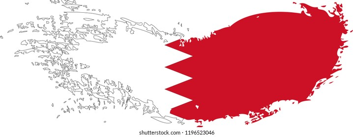 Grunge brush stroke with Bahrain national flag. Watercolor painting flag.