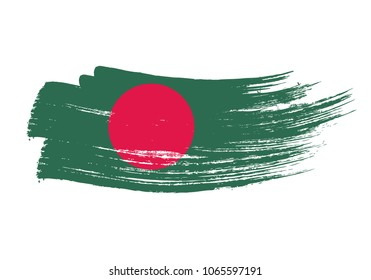 Grunge brush stroke with Bangladesh national flag. Watercolor painting flag of Bangladesh. Symbol, poster, banne of the national flag. Style watercolor drawing. Vector Isolated on white background.
