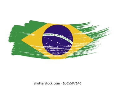 Grunge brush stroke with brazil national flag. Watercolor painting flag of brazil. Symbol, poster, banne of the national flag. Style watercolor drawing. Vector Isolated on white background.