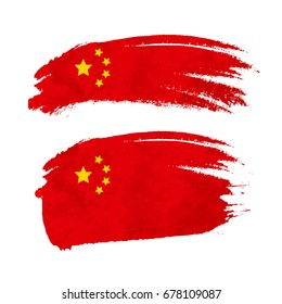 Grunge brush stroke with China national flag isolated on white
