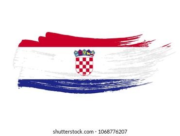 Grunge brush stroke with croatia national flag. Watercolor painting flag of croatia. Symbol, poster, banne of the national flag. Style watercolor drawing. Vector Isolated on white background.