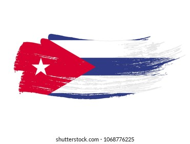 Grunge brush stroke with Cuba national flag. Watercolor painting flag of Cuba. Symbol, poster, banne of the national flag. Style watercolor drawing. Vector Isolated on white background.