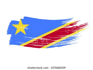 Grunge brush stroke with Democratic Republic of Congo national flag. Watercolor painting flag of Democratic Republic of Congo. Symbol, poster, banne of the national flag. Style watercolor drawing.