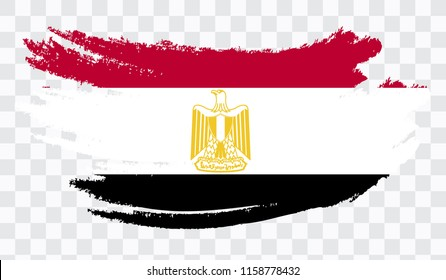 Grunge brush stroke with EGYPT national flag. Watercolor painting flag,poster, banner of the national flag. Style watercolor drawing. Vector isolated on transparent background.