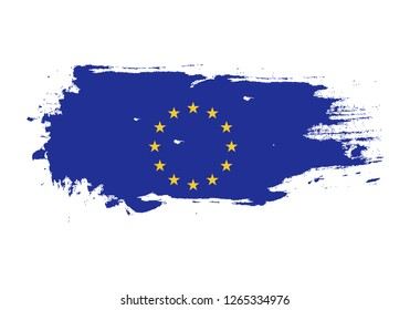 Grunge brush stroke with European Union national flag. Watercolor painting flag. Symbol, poster, banner of the national flag. Vector Isolated on white background.