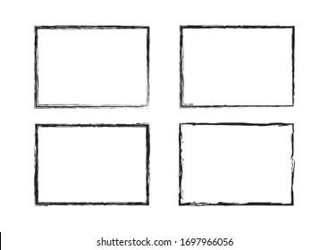 grunge brush stroke frame set. abstract black painted template vector design