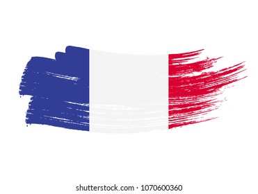 Grunge brush stroke with France national flag. Watercolor painting flag of France. Symbol, poster, banne of the national flag. Style watercolor drawing. Vector Isolated on white background.