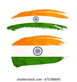 Grunge brush stroke with India national flag isolated on white
