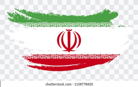 Grunge brush stroke with IRAN national flag. Watercolor painting flag,poster, banner of the national flag. Style watercolor drawing. Vector isolated on transparent background.