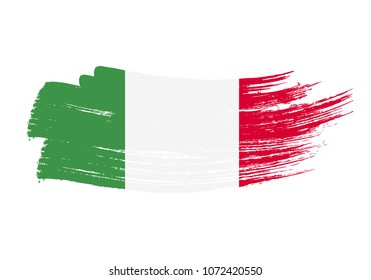 Grunge brush stroke with italy national flag. Watercolor painting flag of italy. Symbol, poster, banne of the national flag. Style watercolor drawing. Vector Isolated on white background.