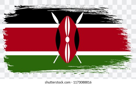 Grunge brush stroke with KENYA national flag. Watercolor painting flag,poster, banner of the national flag. Style watercolor drawing. Vector isolated on transparent background
