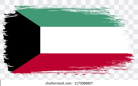 Grunge brush stroke with KUWAIT national flag. Watercolor painting flag,poster, banner of the national flag. Style watercolor drawing. Vector isolated on transparent background
