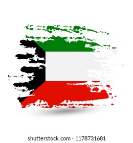 Grunge brush stroke with Kuwait national flag. Style watercolor drawing. Vector isolated on white background.