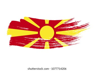 Grunge brush stroke with Macedonia national flag. Watercolor painting flag of Macedonia. Symbol, poster of the national flag. Style watercolor drawing. Vector Isolated on white background.