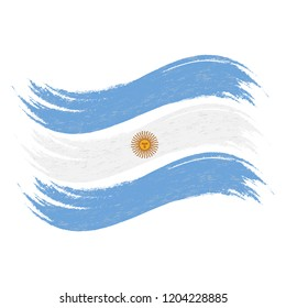 Grunge Brush Stroke With National Flag Of Argentina Isolated On A White Background. Vector Illustration. Flag In Grungy Style. Use For Brochures, Printed Materials, Logos, Independence Day